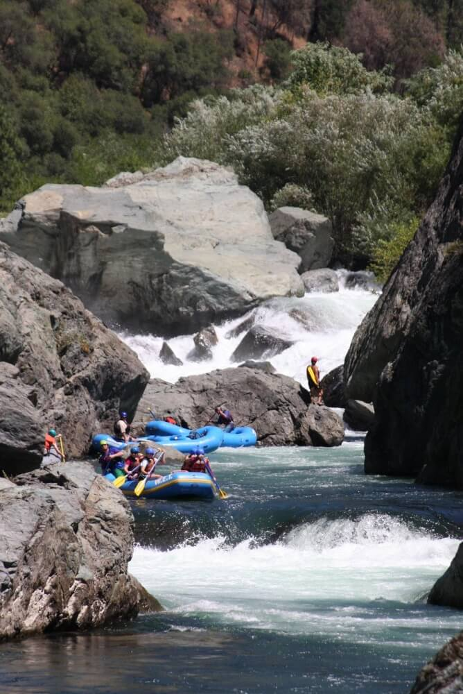Dropping in to the Cleavage rapid on the Middle Fork of the American River