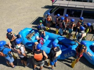 Gordy giving a pre-trip safety talk and going over the paddling commands