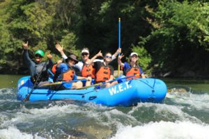 Father and daughter's trip after a day of rafting on the Middle Fork of the American River