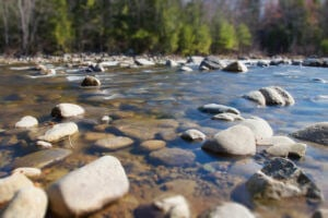 Water flowing through the rocks on the South Fork of the American River