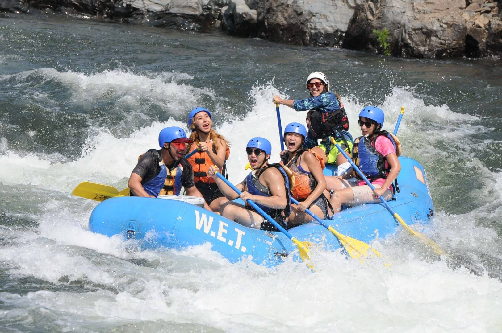 Rachel guiding a group of friends on the Lower Gorge of the American River