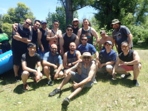 Bachelor group ready for a weekend of whitewater rafting and camping