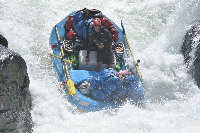 Jon bringing the overnight gear through the Tunnel Chute rapid on the Middle Fork of the American River